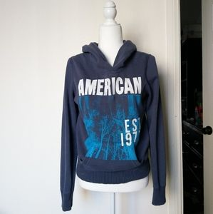 American Eagle Blue Pull Over Hoodie Sweat…
